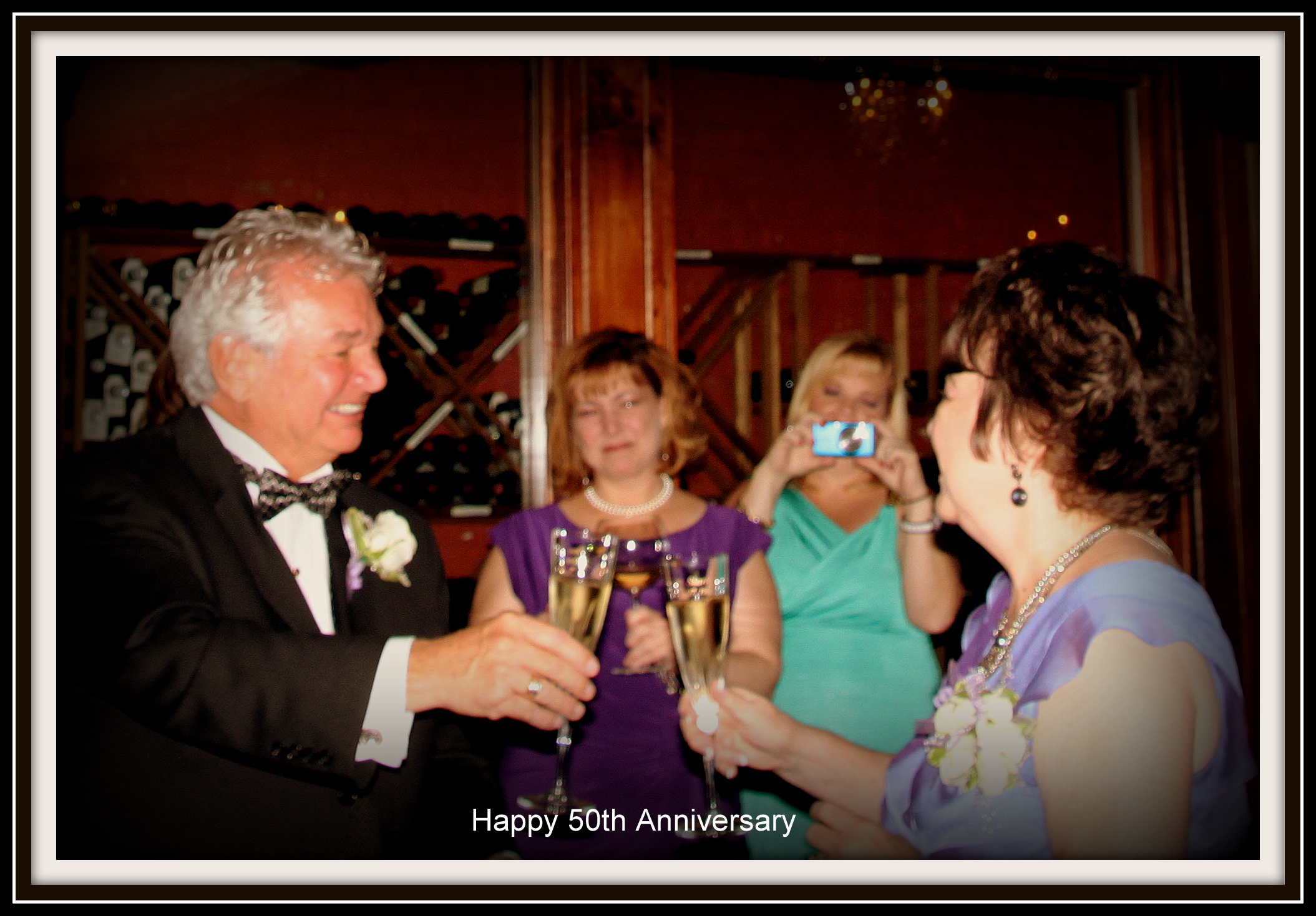 Sharlene and I toasting to our 50 years together.